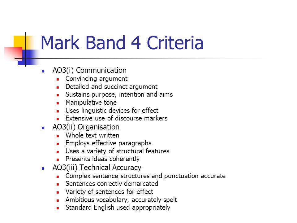 Mark Band 4 Criteria AO3(i) Communication Convincing argument Detailed and succinct argument Sustains purpose, intention and aims Manipulative tone Uses linguistic devices for effect Extensive use of discourse markers AO3(ii) Organisation Whole text written Employs effective paragraphs Uses a variety of structural features Presents ideas coherently AO3(iii) Technical Accuracy Complex sentence structures and punctuation accurate Sentences correctly demarcated Variety of sentences for effect Ambitious vocabulary, accurately spelt Standard English used appropriately