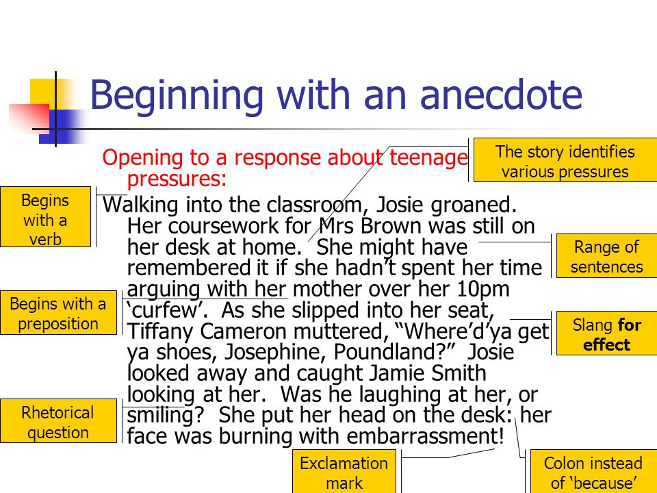 Beginning with an anecdote Opening to a response about teenage pressures: Walking into the classroom, Josie groaned. Her coursework for Mrs Brown was