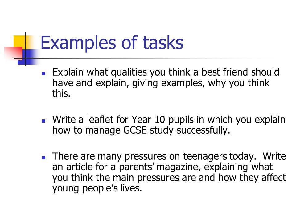Examples of tasks Explain what qualities you think a best friend should have and explain, giving examples, why you think this. Write a leaflet for Yea