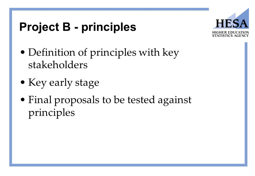 Project B - principles Definition of principles with key stakeholders Key early stage Final proposals to be tested against principles