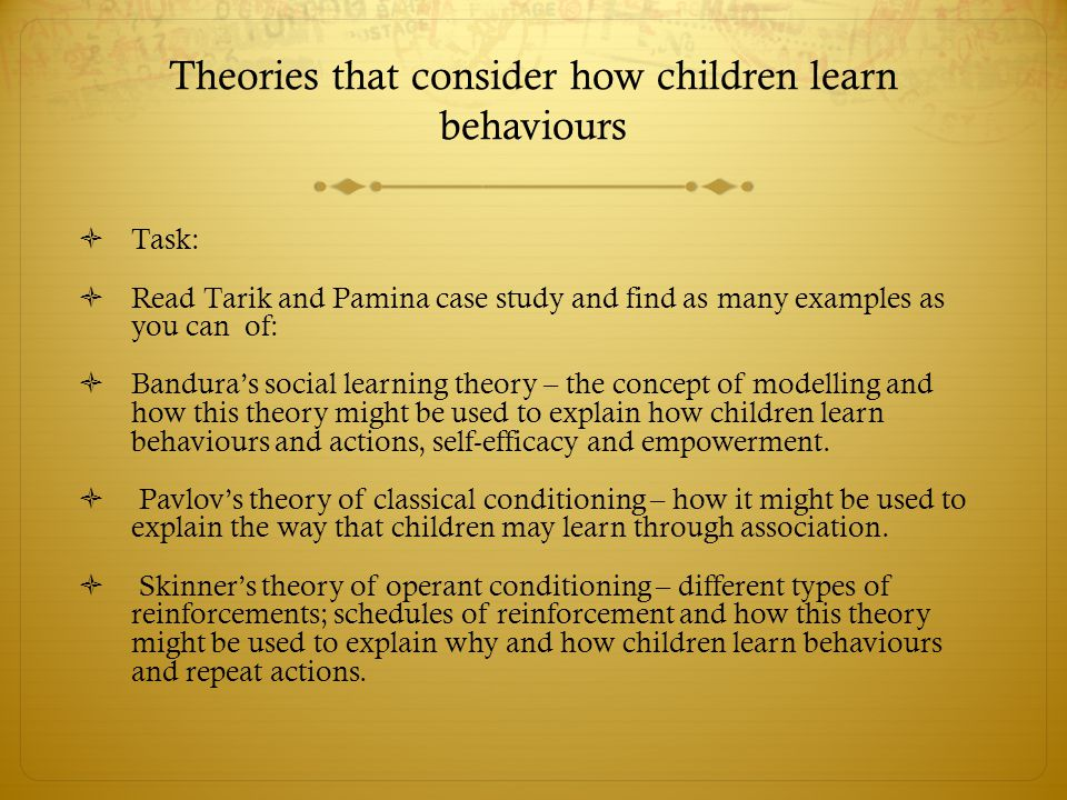 Theories that consider how children learn behaviours  Task:  Read Tarik and Pamina case study and find as many examples as you can of:  Bandura's s