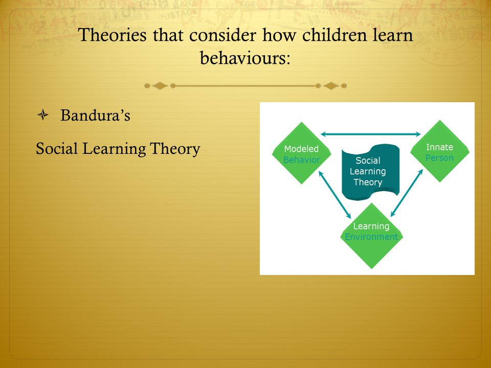 Theories that consider how children learn behaviours  Task:  Read Tarik and Pamina case study and find as many examples as you can of:  Bandura's social learning theory – the concept of modelling and how this theory might be used to explain how children learn behaviours and actions, self-efficacy and empowerment.