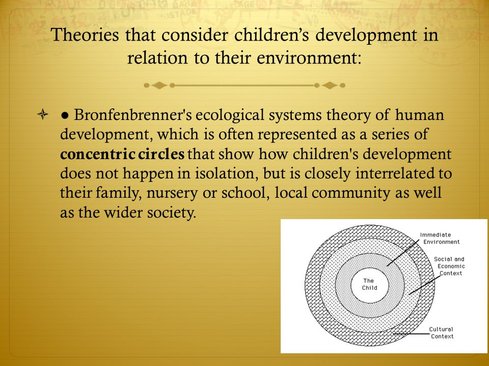 Theories that consider children's development in relation to their environment:  ● Bronfenbrenner's ecological systems theory of human development, w