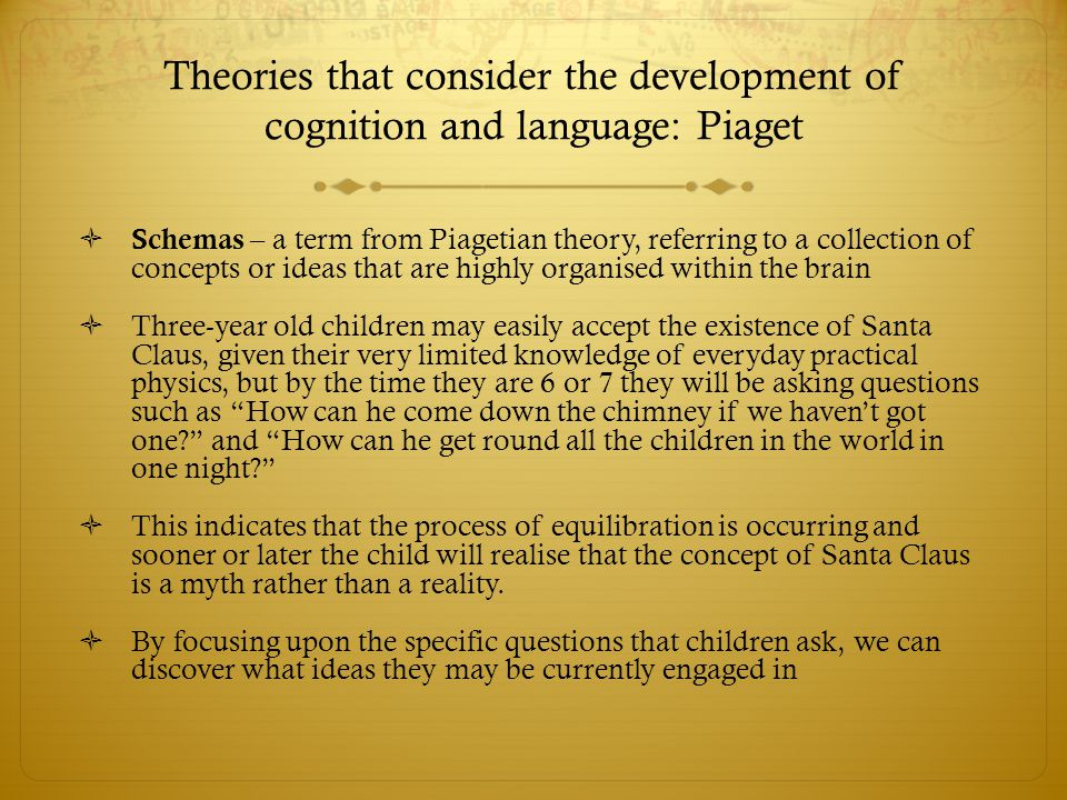 Theories that consider the development of cognition and language:  ● Vygotsky's approach to the development of children's reasoning –  the concept of a zone of proximal development, and  the importance of interactions in supporting children.