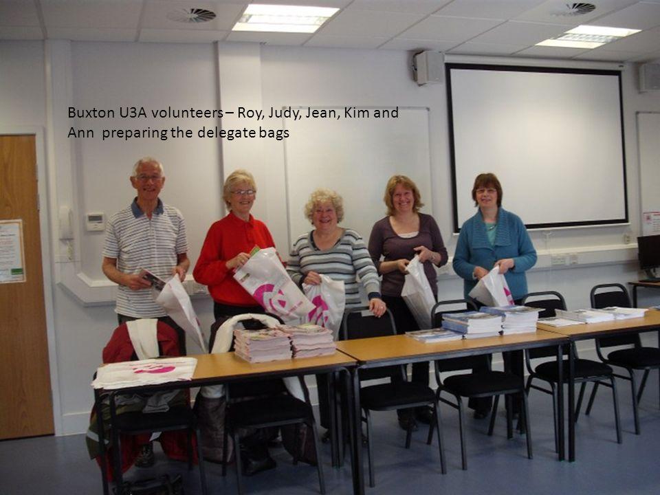 Buxton U3A volunteers – Roy, Judy, Jean, Kim and Ann preparing the delegate bags