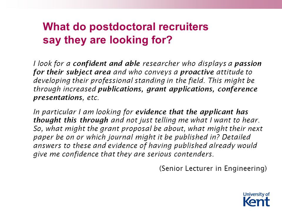What do postdoctoral recruiters say they are looking for.