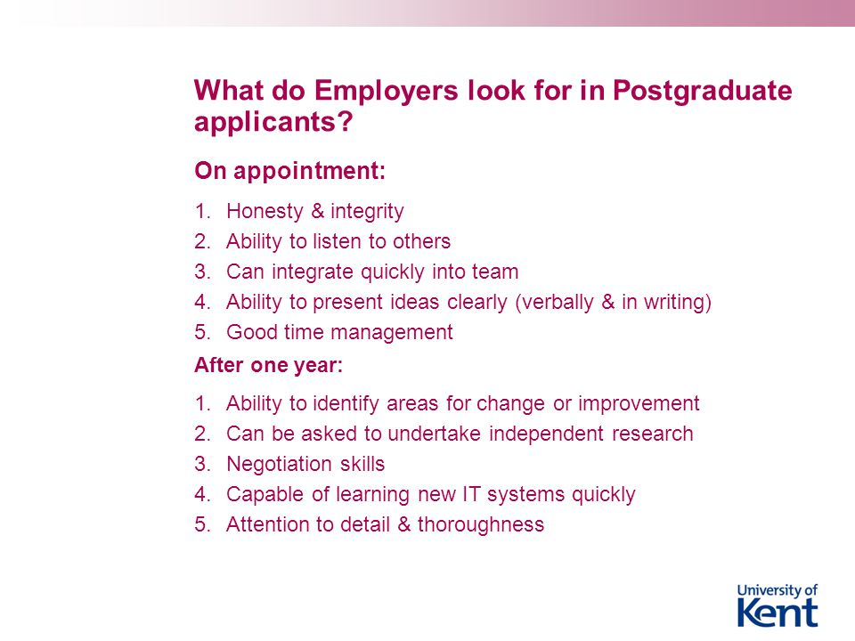 What do Employers look for in Postgraduate applicants.