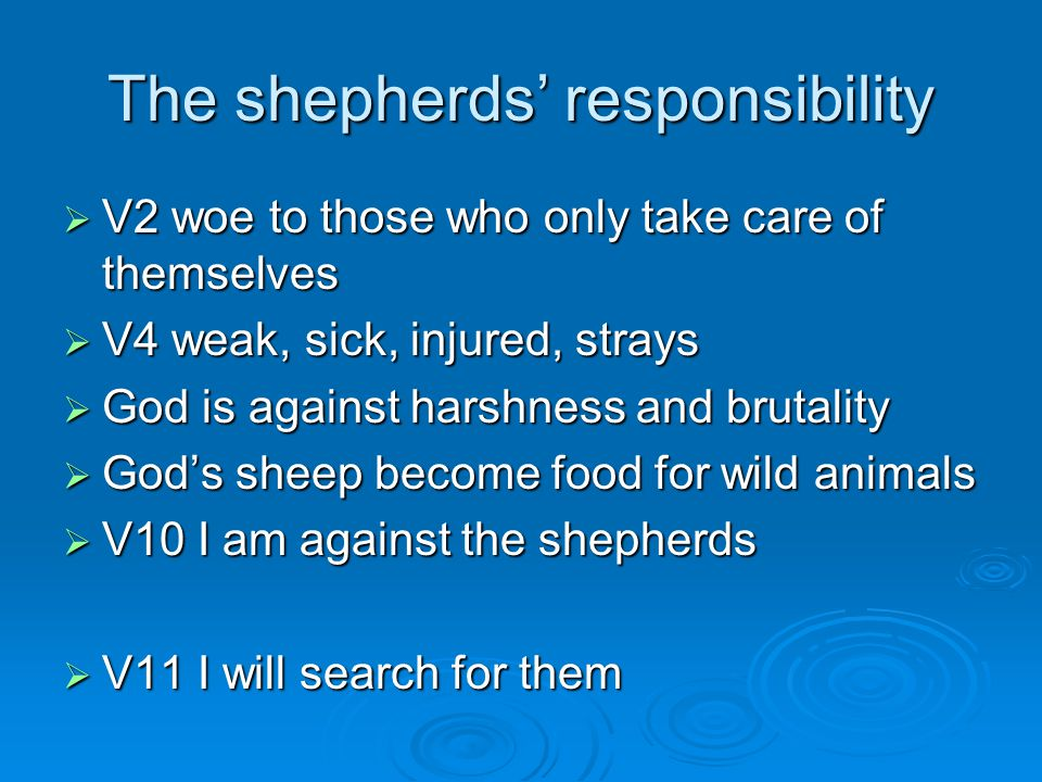 The shepherds' responsibility  V2 woe to those who only take care of themselves  V4 weak, sick, injured, strays  God is against harshness and brutality  God's sheep become food for wild animals  V10 I am against the shepherds  V11 I will search for them