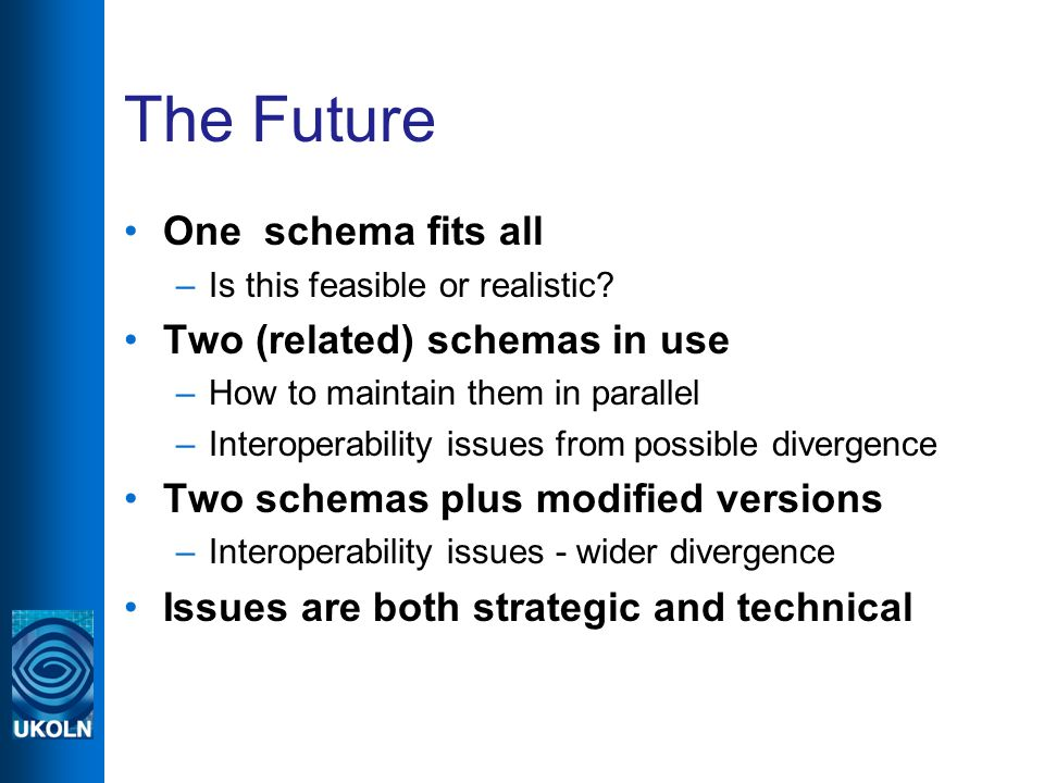 The Future One schema fits all –Is this feasible or realistic.