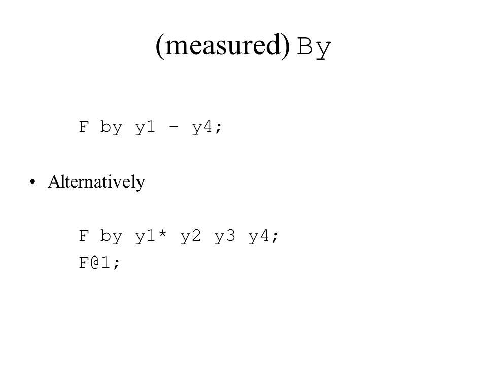 (measured) By F by y1 – y4; Alternatively F by y1* y2 y3 y4; F@1;
