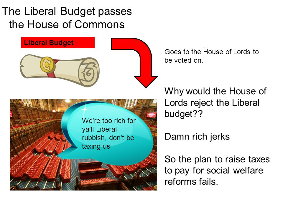 The Liberal Budget passes the House of Commons Liberal Budget Goes to the House of Lords to be voted on. Why would the House of Lords reject the Liber
