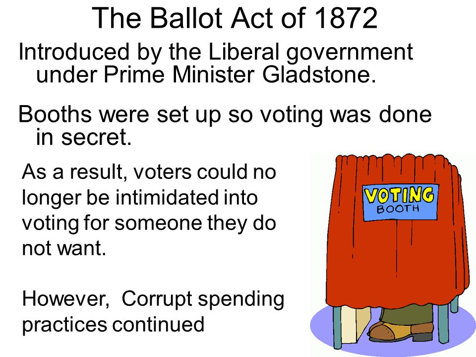 The Ballot Act of 1872 Introduced by the Liberal government under Prime Minister Gladstone. Booths were set up so voting was done in secret. As a resu