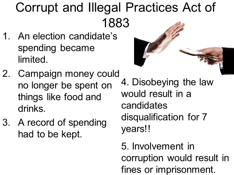 Corrupt and Illegal Practices Act of 1883 1.An election candidate's spending became limited. 2.Campaign money could no longer be spent on things like