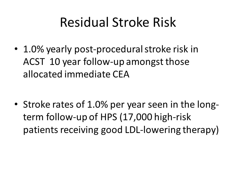 Stroke-free rate in 462 patients with 60% to 99% carotid artery stenosis in relation to embolic infarction on CT brain scans.