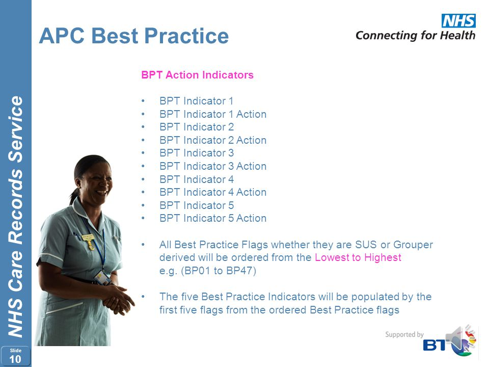 NHS Care Records Service Slide 9 APC Best Practice Flags from the Grouper for Best Practice are produced at Spell level Flags from the Grouper for Bes