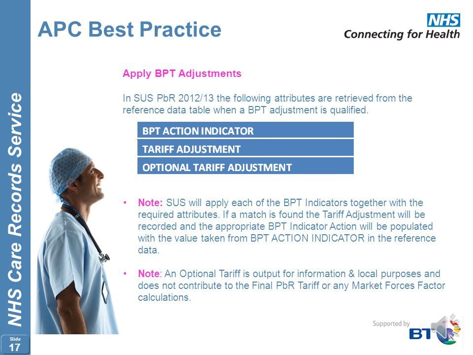 NHS Care Records Service Slide 16 APC Best Practice Apply BPT Adjustments In SUS PbR 2012/13 the following attributes from the Spell will be used to m