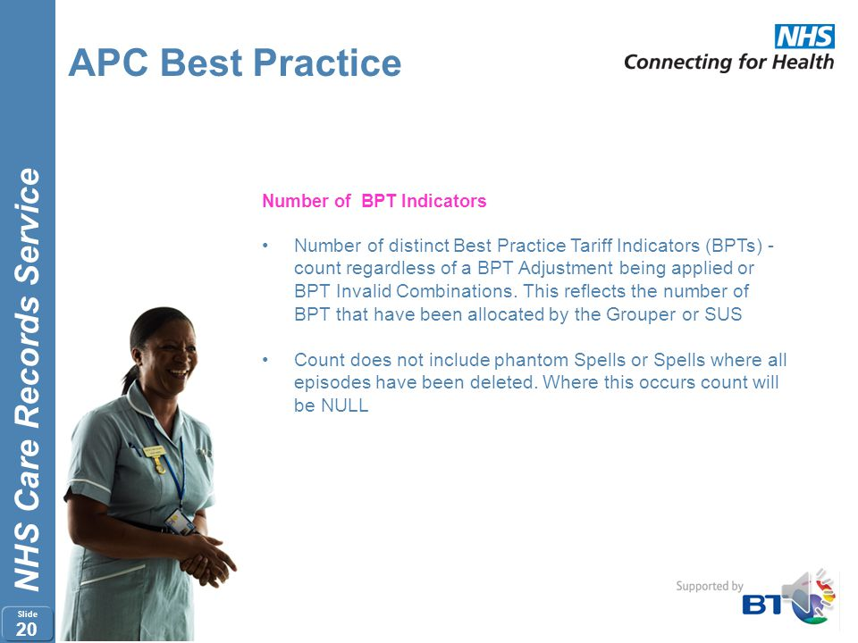NHS Care Records Service Slide 19 APC Best Practice APC Spell Extract attributes BPT Flags SSC Flags BPT Indicator BPT Action Indicator Tariff Adjustm