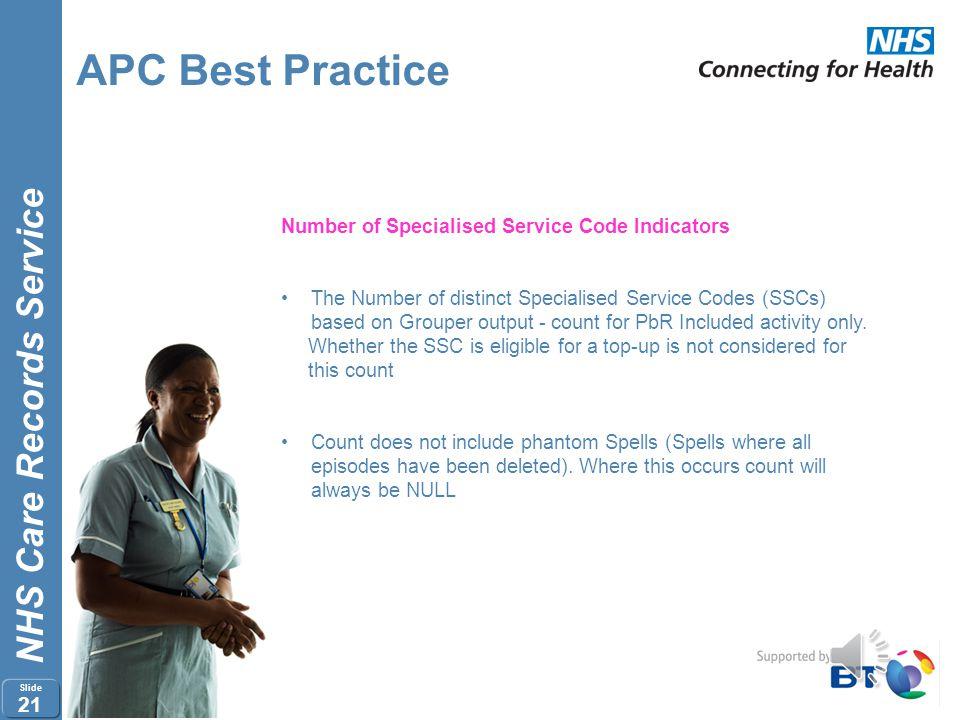 NHS Care Records Service Slide 20 APC Best Practice Number of BPT Indicators Number of distinct Best Practice Tariff Indicators (BPTs) - count regardl