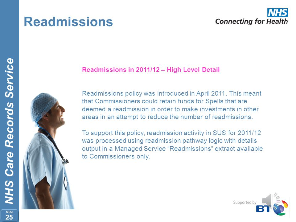 NHS Care Records Service Slide 24 Readmissions