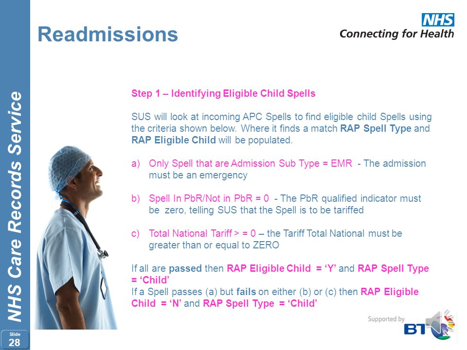 NHS Care Records Service Slide 27 Readmissions How a Readmissions Pathway is created: 1.Child Spells Identified 2.Child Spells Validated 3.Readmission