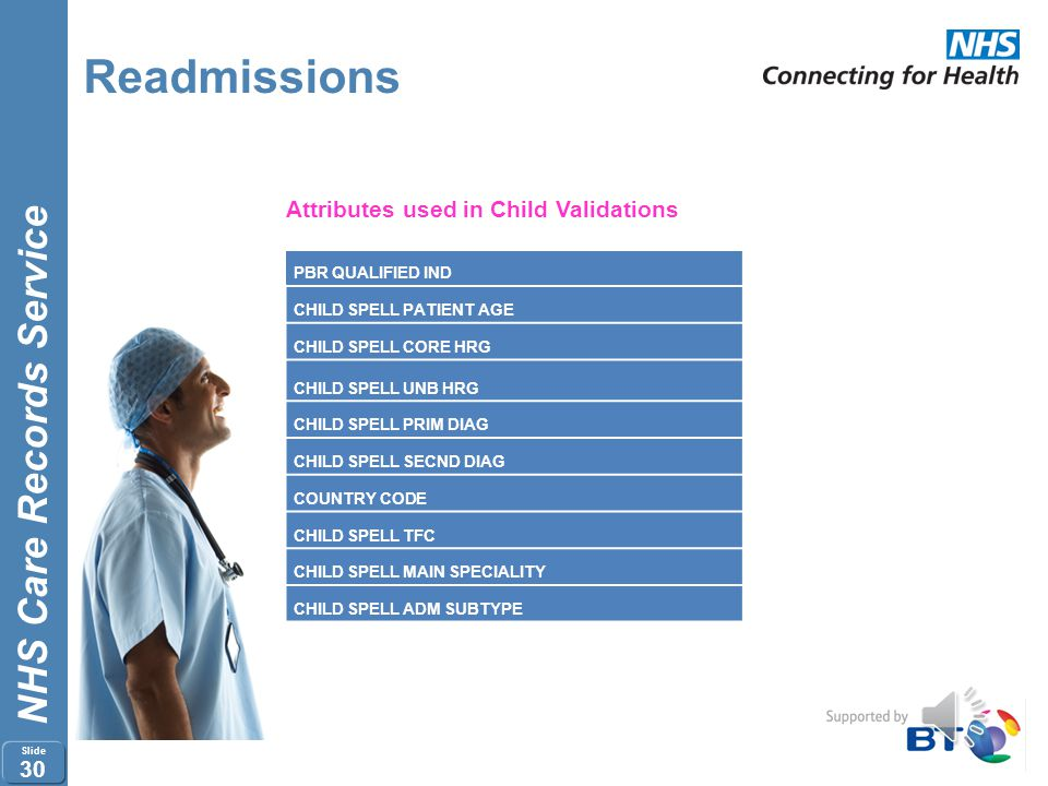 NHS Care Records Service Slide 29 Readmissions Step 2 - Validate Child Spells Only Spells which are marked as RAP Eligible Child = Y are picked up by
