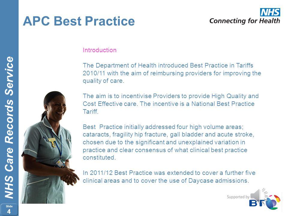 NHS Care Records Service Slide 3 APC Best Practice 2012/13