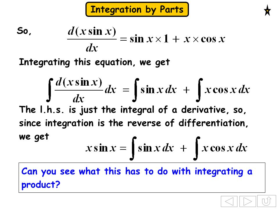 Integration by Parts So, Integrating this equation, we get The l.h.s. is just the integral of a derivative, so, since integration is the reverse of di