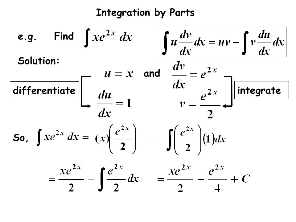 differentiate integrate and e.g. Find Solution: So,