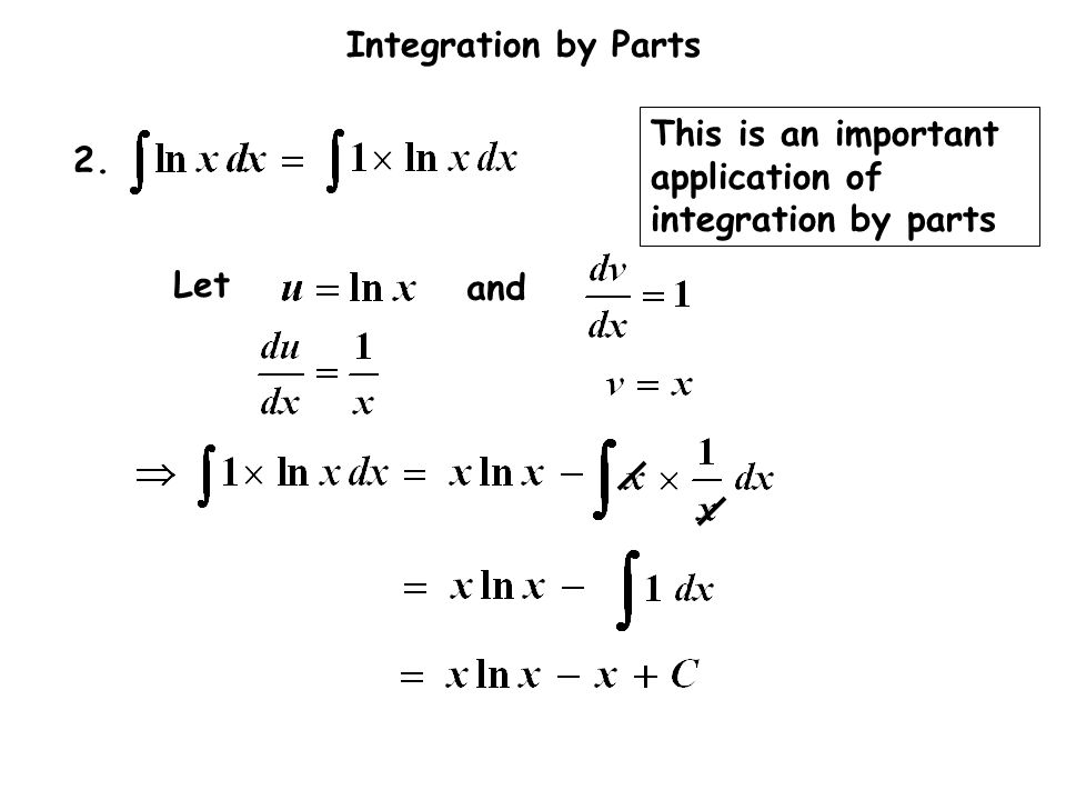 Integration by Parts 2. and Let This is an important application of integration by parts