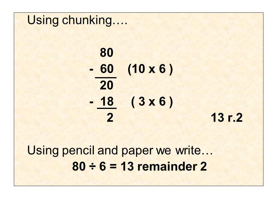 Using chunking….
