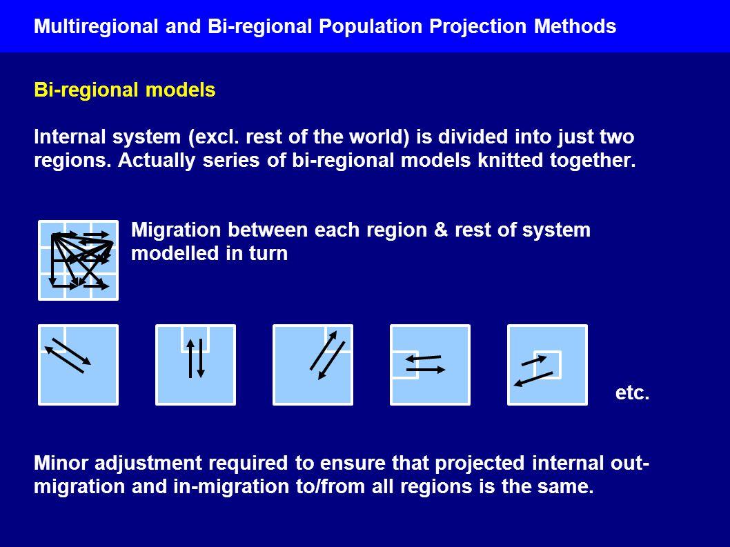 Multiregional and Bi-regional Population Projection Methods Bi-regional models Internal system (excl.
