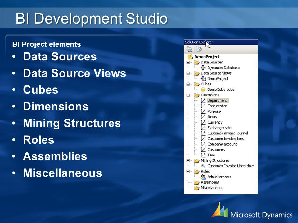 BI Development Studio Data Sources Data Source Views Cubes Dimensions Mining Structures Roles Assemblies Miscellaneous BI Project elements