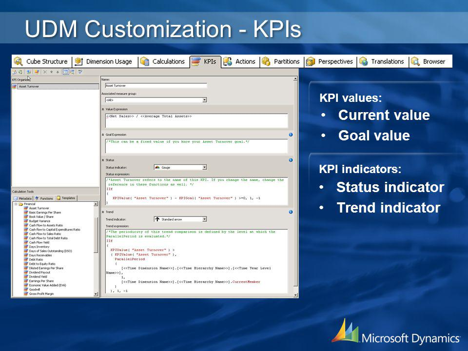 UDM Customization - KPIs Current value Goal value KPI values: Status indicator Trend indicator KPI indicators: