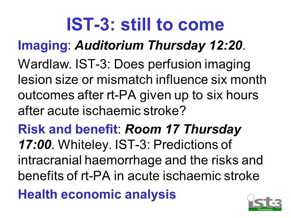 IST-3: still to come Imaging: Auditorium Thursday 12:20.