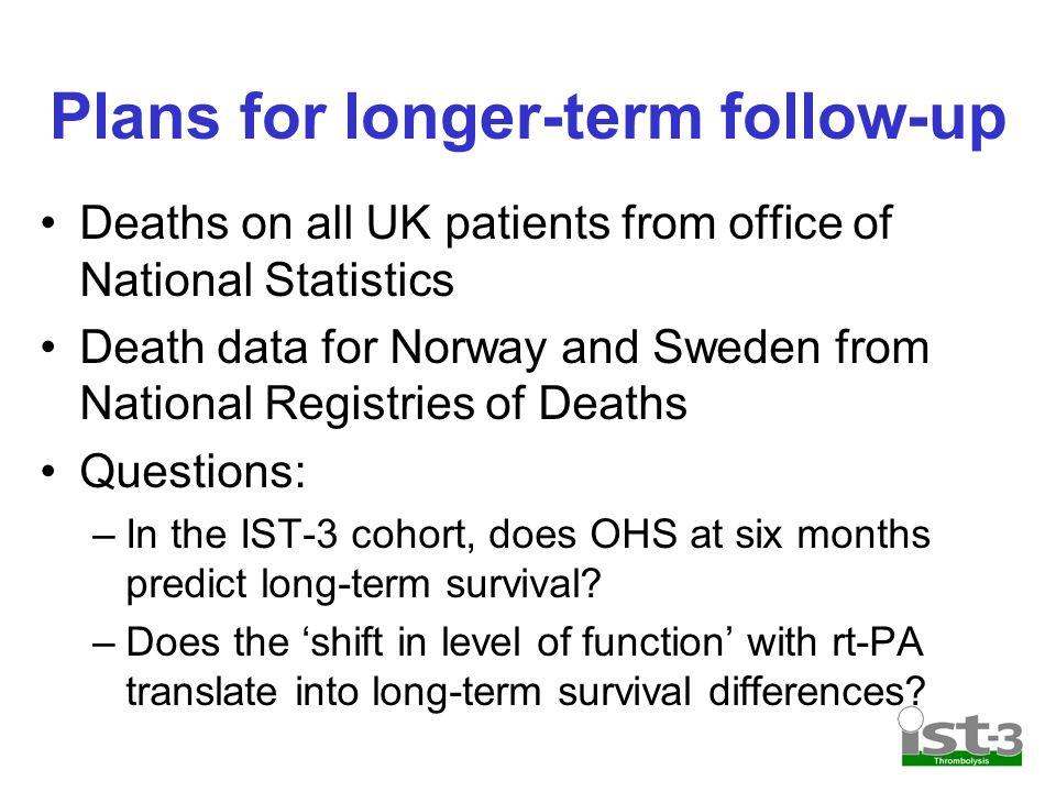 Plans for longer-term follow-up Deaths on all UK patients from office of National Statistics Death data for Norway and Sweden from National Registries of Deaths Questions: –In the IST-3 cohort, does OHS at six months predict long-term survival.