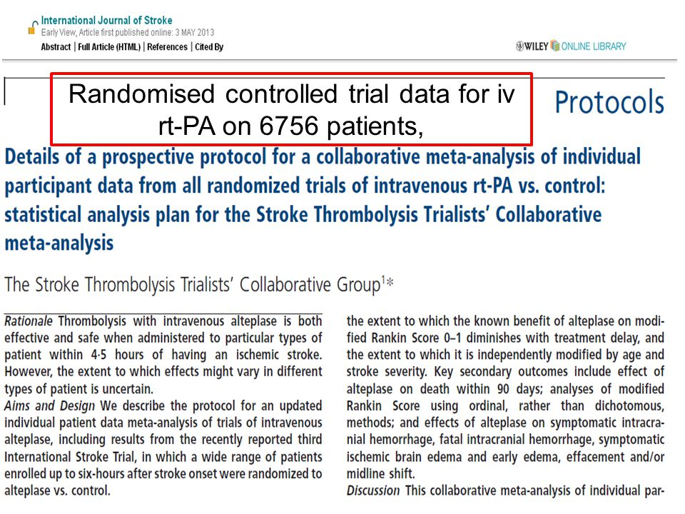 Randomised controlled trial data for iv rt-PA on 6756 patients,