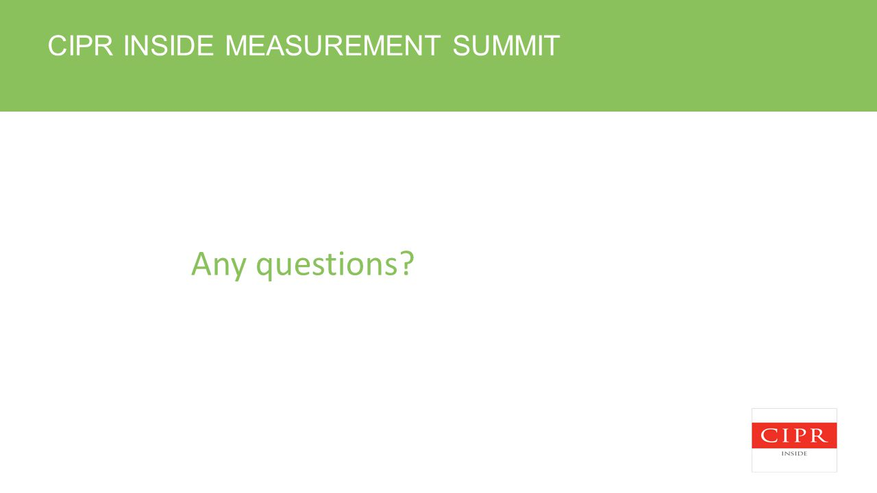 CIPR INSIDE MEASUREMENT SUMMIT Any questions