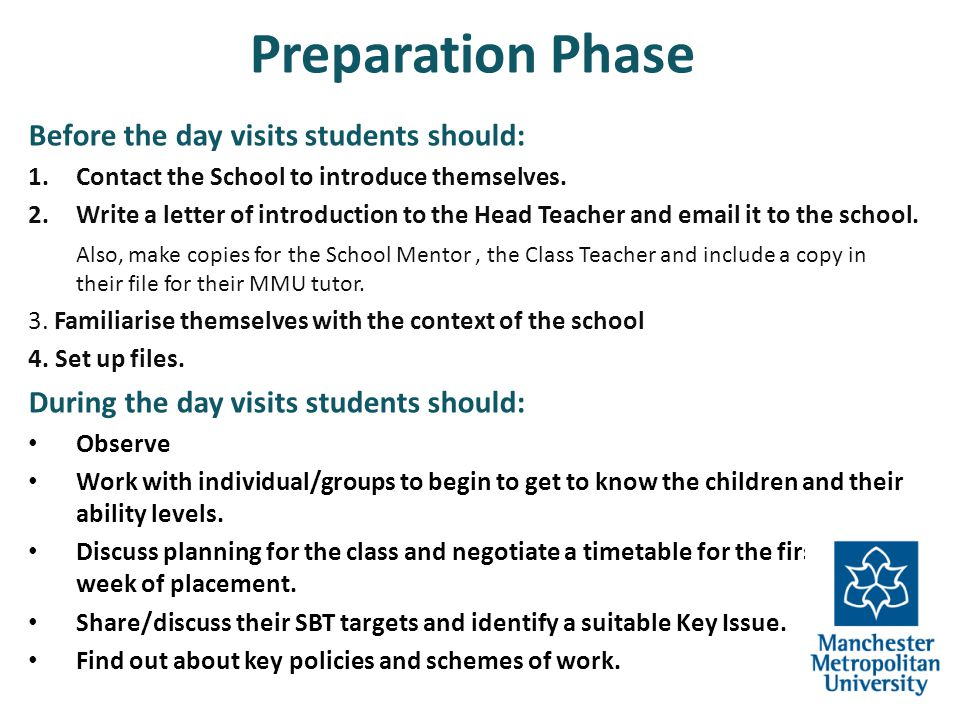 Preparation Phase Before the day visits students should: 1.Contact the School to introduce themselves. 2.Write a letter of introduction to the Head Te
