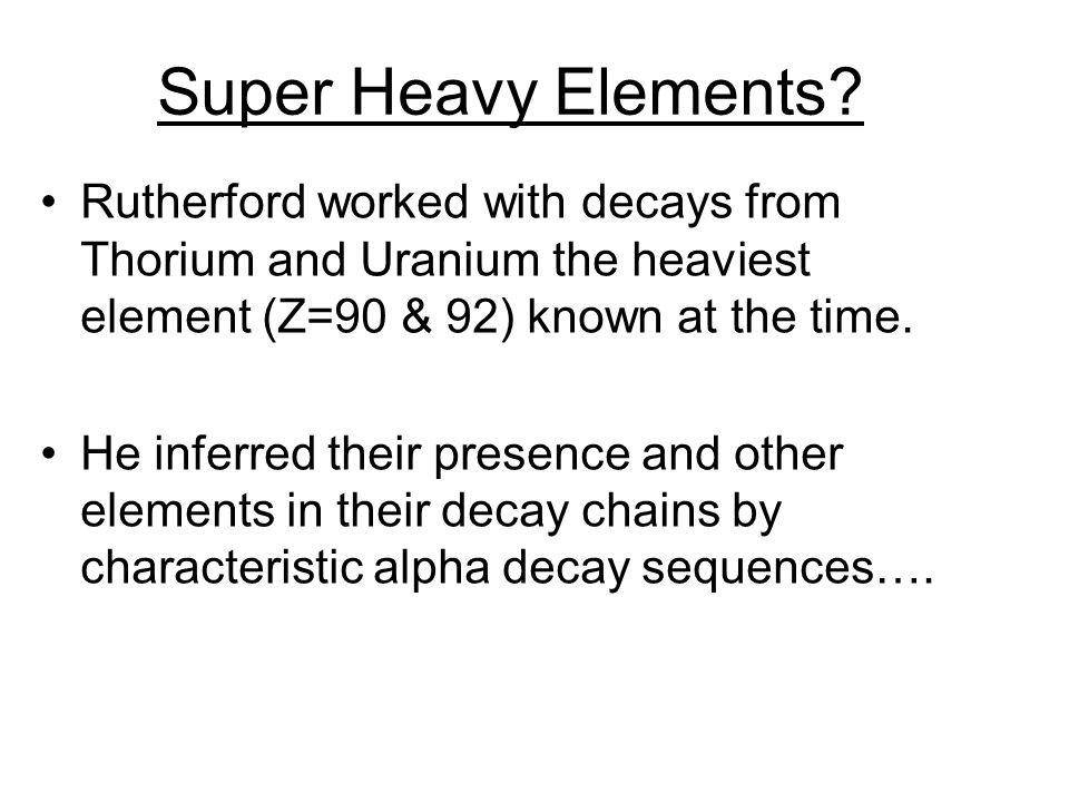 Super Heavy Elements.