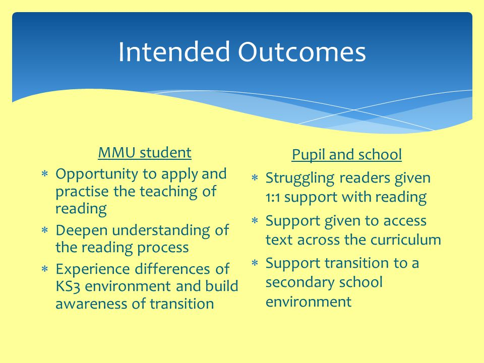 Intended Outcomes MMU student  Opportunity to apply and practise the teaching of reading  Deepen understanding of the reading process  Experience differences of KS3 environment and build awareness of transition Pupil and school  Struggling readers given 1:1 support with reading  Support given to access text across the curriculum  Support transition to a secondary school environment