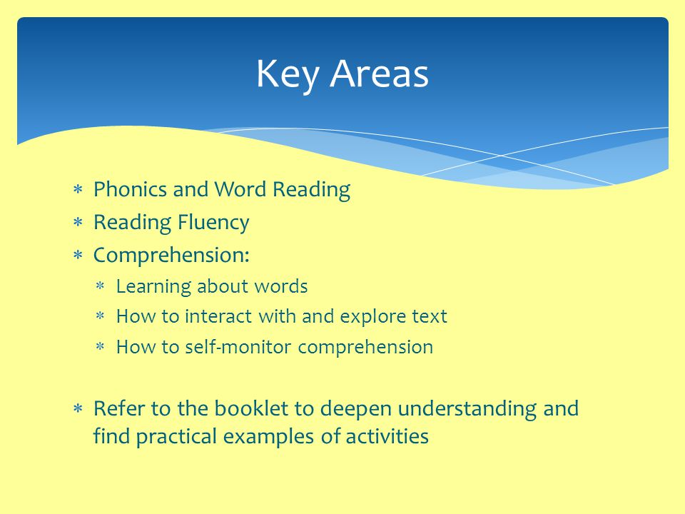  Phonics and Word Reading  Reading Fluency  Comprehension:  Learning about words  How to interact with and explore text  How to self-monitor comprehension  Refer to the booklet to deepen understanding and find practical examples of activities Key Areas
