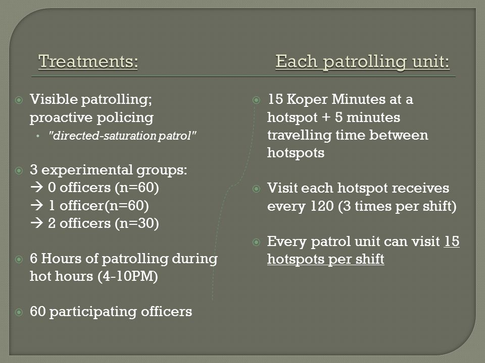  Visible patrolling; proactive policing directed-saturation patrol  3 experimental groups:  0 officers (n=60)  1 officer(n=60)  2 officers (n=30)  6 Hours of patrolling during hot hours (4-10PM)  60 participating officers  15 Koper Minutes at a hotspot + 5 minutes travelling time between hotspots  Visit each hotspot receives every 120 (3 times per shift)  Every patrol unit can visit 15 hotspots per shift