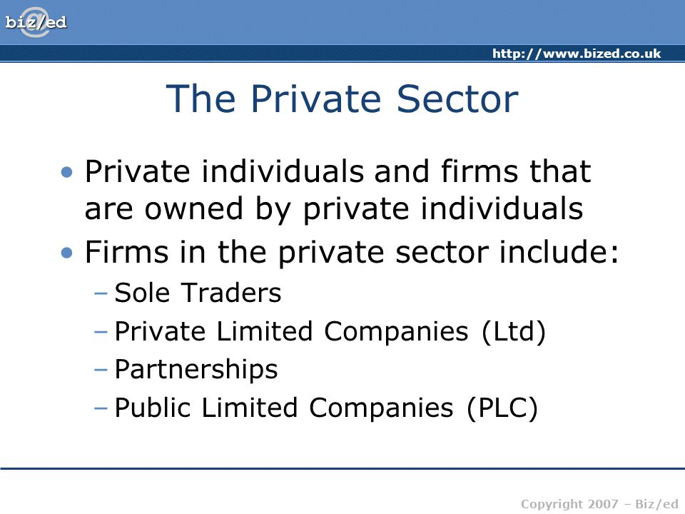 http://www.bized.co.uk Copyright 2007 – Biz/ed The Private Sector Private individuals and firms that are owned by private individuals Firms in the private sector include: –Sole Traders –Private Limited Companies (Ltd) –Partnerships –Public Limited Companies (PLC)