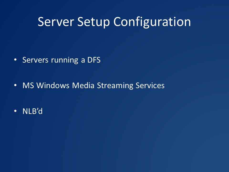 Server Setup Configuration Servers running a DFS MS Windows Media Streaming Services NLB'd