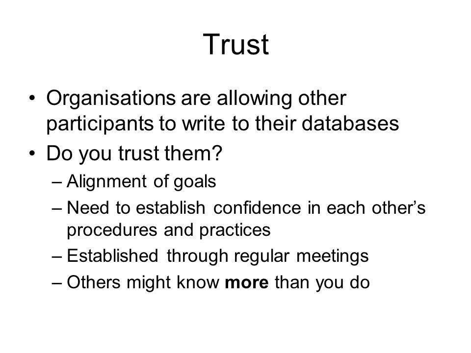 Trust Organisations are allowing other participants to write to their databases Do you trust them.