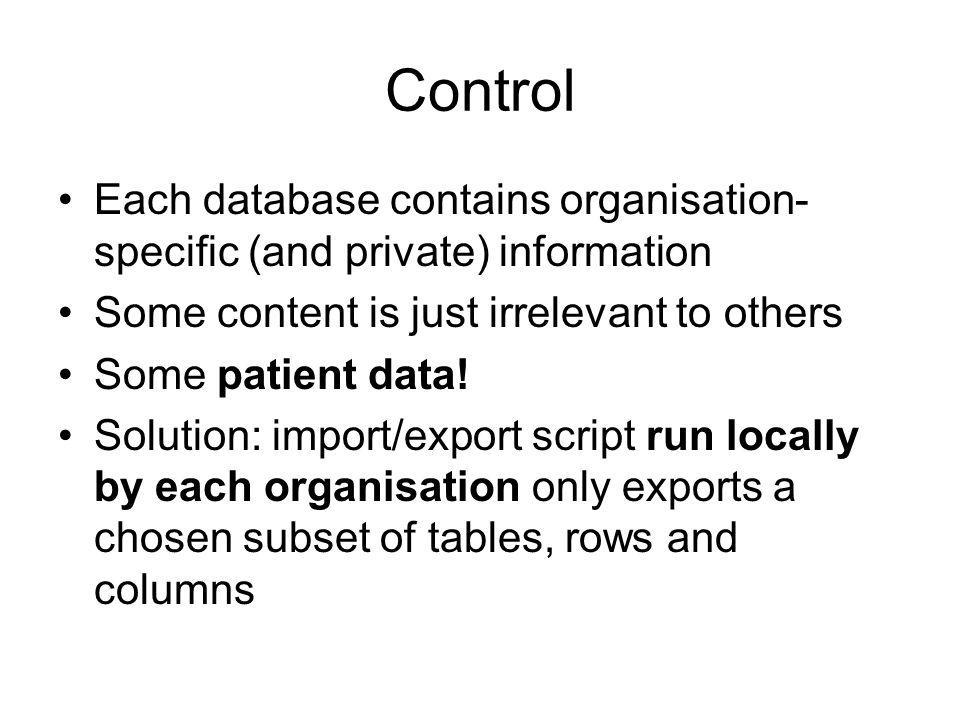 Control Each database contains organisation- specific (and private) information Some content is just irrelevant to others Some patient data.