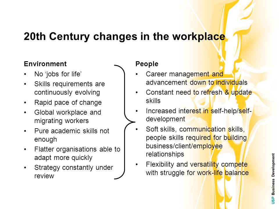 USP Business Development 20th Century changes in the workplace Environment No 'jobs for life' Skills requirements are continuously evolving Rapid pace of change Global workplace and migrating workers Pure academic skills not enough Flatter organisations able to adapt more quickly Strategy constantly under review People Career management and advancement down to individuals Constant need to refresh & update skills Increased interest in self-help/self- development Soft skills, communication skills, people skills required for building business/client/employee relationships Flexibility and versatility compete with struggle for work-life balance