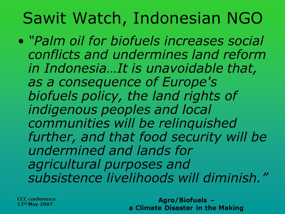 CCC conference 13 th May 2007 Agro/Biofuels – a Climate Disaster in the Making Sawit Watch, Indonesian NGO Palm oil for biofuels increases social conflicts and undermines land reform in Indonesia…It is unavoidable that, as a consequence of Europe s biofuels policy, the land rights of indigenous peoples and local communities will be relinquished further, and that food security will be undermined and lands for agricultural purposes and subsistence livelihoods will diminish.
