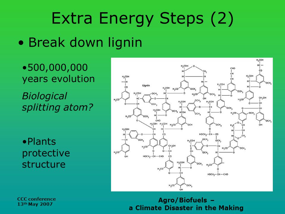 CCC conference 13 th May 2007 Agro/Biofuels – a Climate Disaster in the Making Extra Energy Steps (2) Break down lignin 500,000,000 years evolution Biological splitting atom.