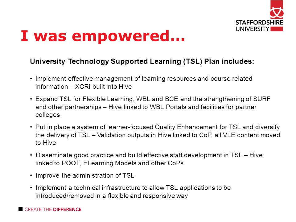 I was empowered… University Technology Supported Learning (TSL) Plan includes: Implement effective management of learning resources and course related information – XCRi built into Hive Expand TSL for Flexible Learning, WBL and BCE and the strengthening of SURF and other partnerships – Hive linked to WBL Portals and facilities for partner colleges Put in place a system of learner-focused Quality Enhancement for TSL and diversify the delivery of TSL – Validation outputs in Hive linked to CoP, all VLE content moved to Hive Disseminate good practice and build effective staff development in TSL – Hive linked to POOT, ELearning Models and other CoPs Improve the administration of TSL Implement a technical infrastructure to allow TSL applications to be introduced/removed in a flexible and responsive way